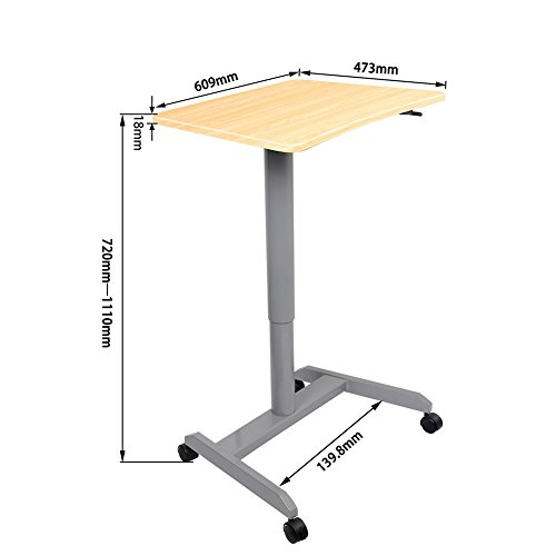 Standing Desk, Multipurpose and Height Adjustable Computer Desk for Home, Office (Light Wood) by Amoiu (Image #1)
