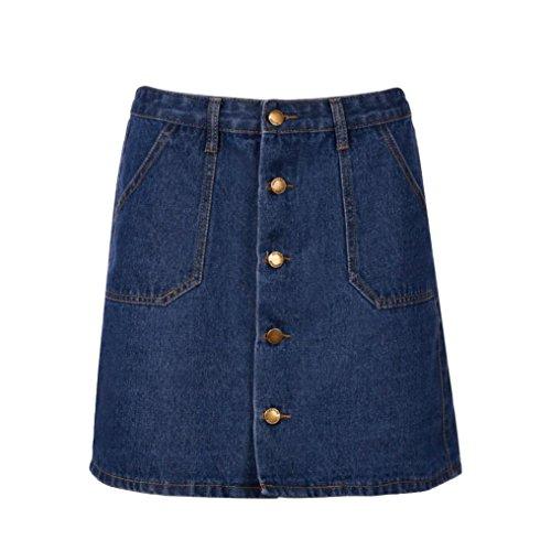 ShiTou Skirts, Summer Women High Waist Short Sexy Pockets Blue Denim Skirts at Amazon Womens Clothing store: