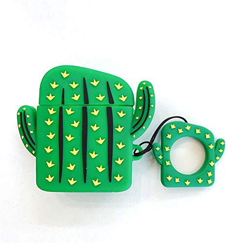 Anya Super Cute Creative 3D Cartoon Shape Soft Silicone Wireless Bluetooth Earphone Case Headphones Cover Shockproof Protective Skin for Apple AirPods Charging Case Cactus Green