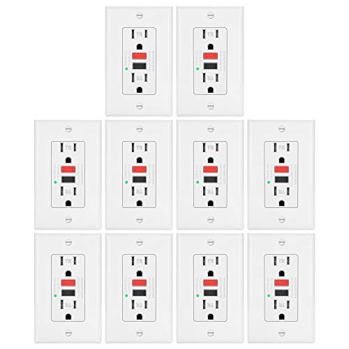 10 Pack -ELECTECK 15A/125V Tamper Resistant GFCI Outlets, Decor Receptacles with LED Indicator, Decorator Wall Plate and Screws Included, Red and Black Buttons, None Self Test, ETL Certified, White