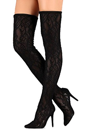 Anne Michelle Dedicate 22S Womens Floral Stetch Lace Over The Knee Pointy Toe Stiletto Black 7 (Stiletto Heel Thigh Boot)