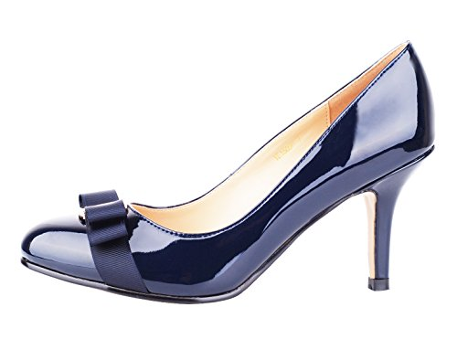 Verocara Women's Grosgrain Bow Kitten Heel Almond Toe Evening Dress Pumps Navy Patent 7 B(M) US