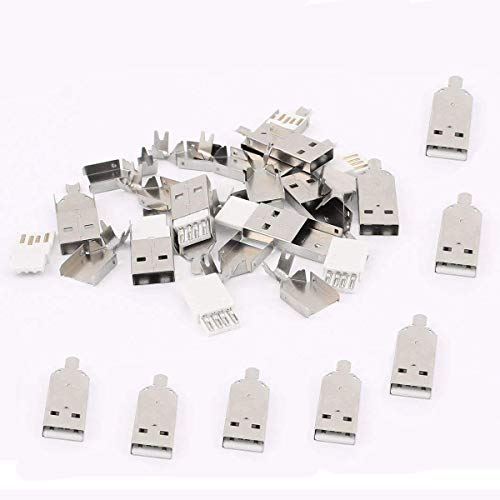 QMseller 20PCS Soldering USB Type A Male Connector w Metal Shell for DIY