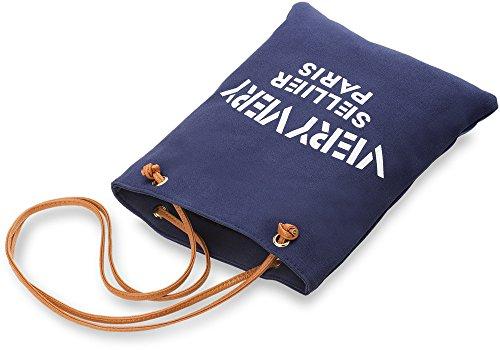 praktische Einkaufstasche Damentasche Baumwolltasche Leinen - Beutel mit Kunstleder beige