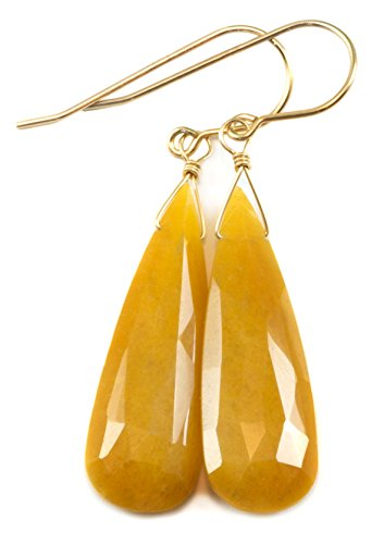 14k Gold Filled Aventurine Earrings Large Faceted Teardrop Long Drops Yellow Orange ()