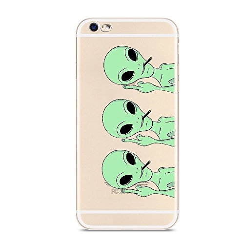 iPhone 6 6s Case,Novelty Alien Pattern on Soft TPU Silicone Protective Skin Ultra Slim & Clear with Unique Art Design Funny Gift Bumper Back Cover for iPhone 6/6s 4.7 inch,middle finger