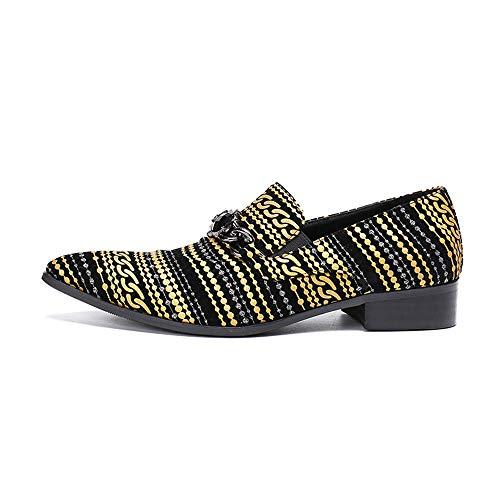 Hombres la Agua Raya Cuero Antideslizantes Puntiagudos del pie Dedo del para la del Amarillo de de de Zapatos Zapatos de de a los Hombres Vendimia Modelo 38 EU tamaño Chlyuan Prueba 4Hx7wnqz1