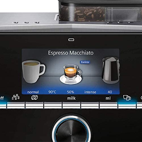 Siemens EQ.9 Plus Connect s500 TI9553X1RW – Machine à café automatique connectée avec écran tactile – Permet de préparer deux tasses simultanément – Mode Barista – Couleur : Inox