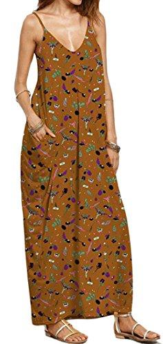 Cromoncent Femmes Sangle D'impression Été Faible Backless Coupe Longue Robe De Plage 10
