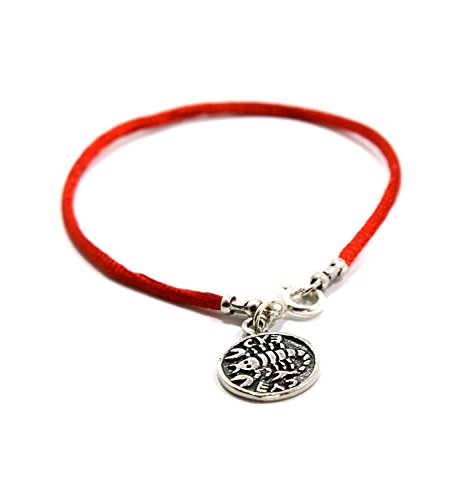 Recovery & Health Sterling Silver Charm Amulet on Red String Bracelet for Women 7 Inch