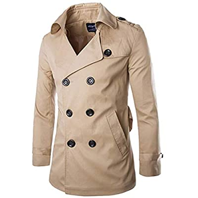 MICHAELAN01 Mens Trench Coat Double Breasted Raincoat Belted Winter Trench Windbreaker