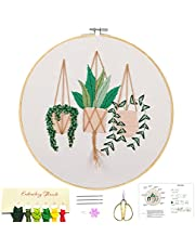nokoor Embroidery Starter Kit for Adults Beginner Starter Full Range of Stamped Cross Stitch Set with Flower Pattern and Instructions, Color Threads, Embroidery Hoops, Scissors and Needle
