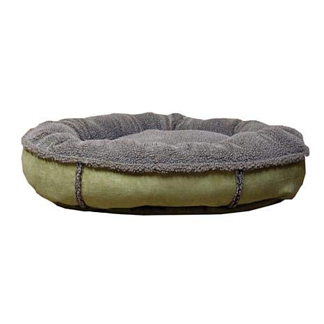 Carolina Pet 014530 Faux Suede & Tipped Berber Round Poly Fill Comfy Cup Bed - Sage44; Small