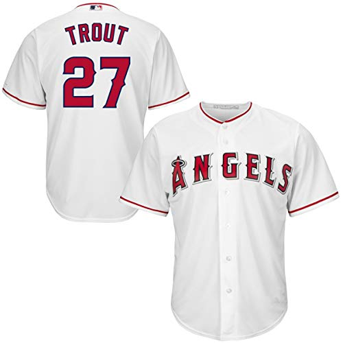 (Mitchell & Ness Men's #27 Mike Trout Los Angeles Angels Cool Base Player Jersey White )