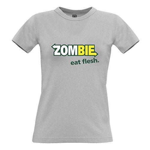 Tim and Ted Zombie mangiare la carne divertente parodia Premium Living Dead Walking T-Shirt Da Donna