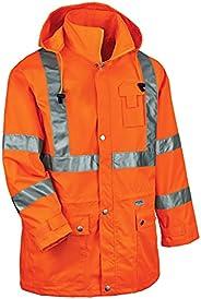 Ergodyne GloWear 8365 Rain Jacket, High Visibility, Reflective, ANSI Compliant Outerwear, Orange, Large