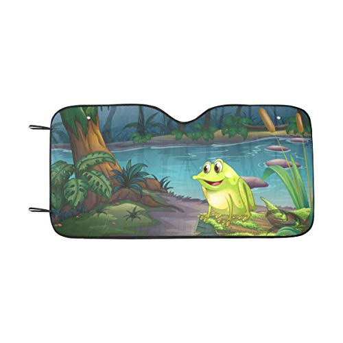 InterestPrint Frog Automotive Windshield Sunshades, Foldable Auto Sun Shade for - Frog Sunshade
