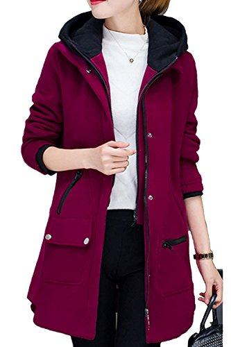 Casual piel lana abrigo abrigos de la mujer con bolsillos Winered