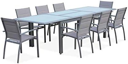 Alices Garden - Conjunto de mesa de jardín con sus sillas, Aluminio, 8 plazas, Gris claro / Estructura Gris, Philadelphie: Amazon.es: Hogar