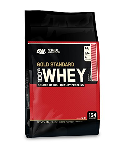 Optimum Nutrition Gold Standard 100% Whey Protein Powder, Delicious Strawberry, 10 Pound