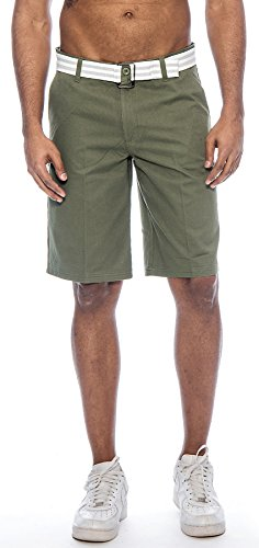 TR Fashion Men's Bahamas Belted Walking Shorts (Olive, 32) (Olive Bermuda)