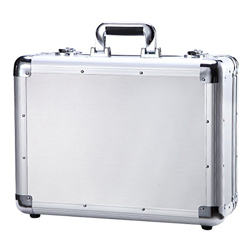 Small Aluminum Hard Briefcase Metal Tool Box Silver Carrying Case Portable Flight Case by Gzyahui