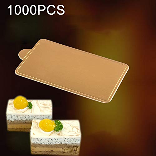 Food Molds 1000 PCS Medium Rectangle Cake Cardboard Pad Thick Rigid Golden Cake Mousse Cake Mat Household Food by LUOFUSHENG