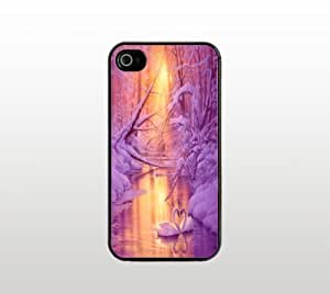 Beautiful Swan Art Snap-On Case for Apple iPhone 4 4s - Hard Plastic - Black - Cool Custom Cover