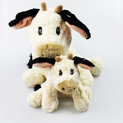 'Cow' Milkshake High Quality Stuffed Toy with Collar, Workmanship and Materials Make This Softweichen Farm Friends To A Great Friend and Adorn 38 cm x 28 cm 2 er Set KUH GROSS UND KLEIN: Hogar