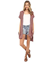 Free People Sloppy Pocket Long Sweater Cardigan, S, Rust