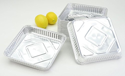 Disposable Aluminum 7-7/8 inch x 7-7/8 inch Square Cake Pan #1155NL (500)