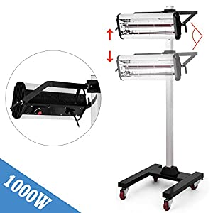 Happybuy Baking Infrared Paint Curing Lamp Short Wave Infrared Heater Car Bodywork Repair Paint Dryer/Stand (1000W)