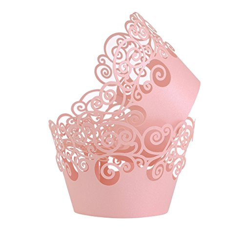 Aiyaya Filigree Artistic Muffin Case Cupcake Paper Cup Liner Little Vine Lace Laser Cupcake Wrappers for Wedding Party Birthday Decoration (Lace Pink)