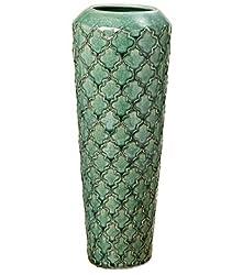 Home Collection Arredamento, decorazione - Vaso decorativo per fiori, soprammobile - Stile: Moderno - Materiale: terracotta - Colore: Verde - Ø 14 H 36 cm