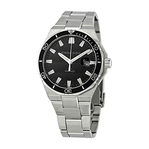 Concord Mariner Mens Stainless Steel Dive Watch - 43mm Analog Black Face with Second Hand, Date and Sapphire Crystal Waterproof Quartz Diver Watch - Metal Band Swiss Made Diving Watch for Men 0320352