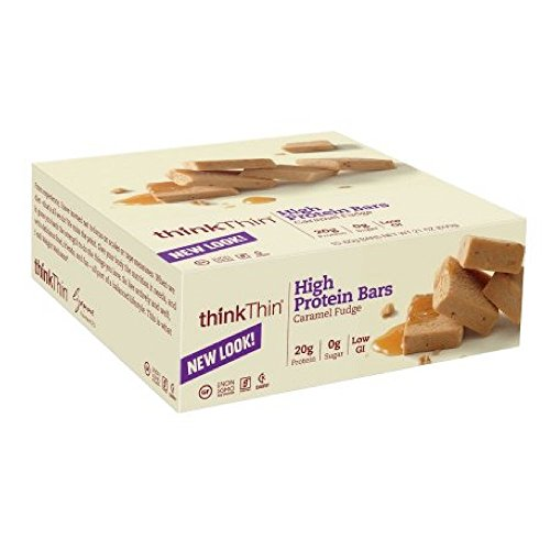 thinkThin High Protein Bars - Caramel Fudge, 20g Protein, 0g Sugar, No Artificial Sweeteners, Gluten Free, GMO Free*, Best Nutritional Snack/Meal bar, 2.1 oz bar ()