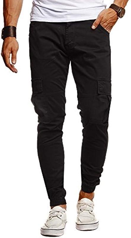 Leif Nelson Męskie dżinsy chino cargo spodnie stretch spodnie jeansowe jogger spodnie chinosy spodnie rekreacyjne stretch Slim Fit LN9285: Odzież