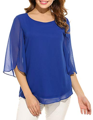 modase Women's Casual Plus Size Short Sleeve Chiffon Ruffles Top T-Shirt Blouse Blue/XXL