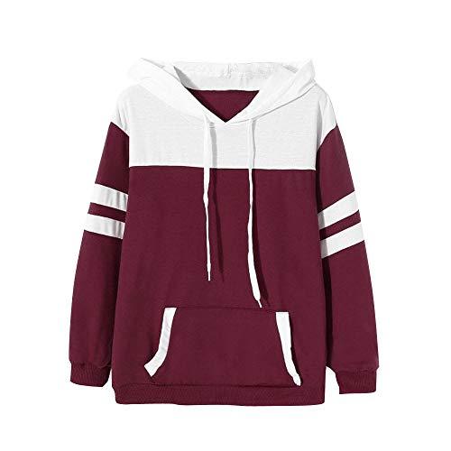 Longues Chemisier Capuche Sweatshirt Sweat Pull Shirt Rouge Sweat Femme Manches Capuche Tops LULIKA Sweatshirt Capuche AFq877