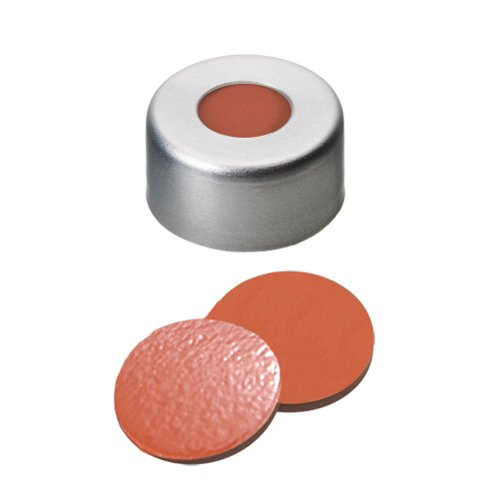 11mm Crimp Cap (silver) with Septa Natural Rubber/TEF, 11 03 0300, pk.1000