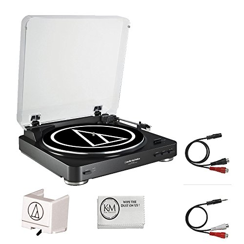 Audio-Technica AT-LP60BK-BT Turntable Bluetooth (Black) w/ extra Stylus ATN3600 by Audio-Technica