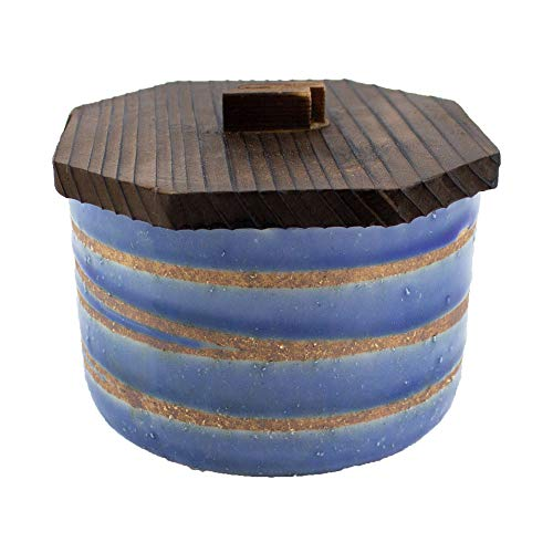 Versatile Minoyaki Blue Ochawan with Grey Spiral with Wooden Lids (Made in Japan)