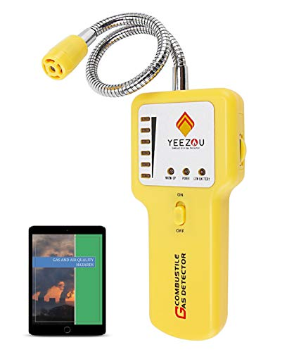 Propane/Natural Gas Detector, Home Gas Leak Alarm, Tester, Sensor, Sniffer; Monitor Combustible Explosive Gas Level: Methane, Butane, LPG, LNG; Sound/Light Warning & LED Display; eBook