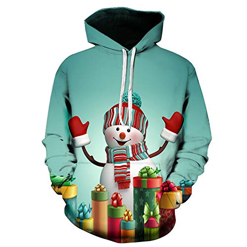 Winsummer Men Women Plus Size Ugly Christmas Pullover Sweatshirts 3D Printed Graphic Hooded Hoodies Jacket with Pocket -