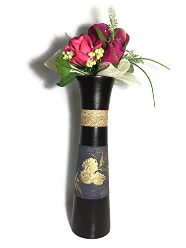 Upluck Purple Paint Pattern Mango Wood Vase Flowers for Home Decor Hotel Wedding (Paint Rattan)