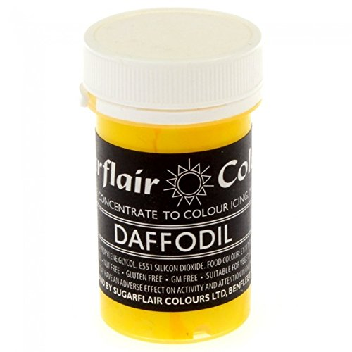 50 x Sugarflair DAFFODIL YELLOW Pastel Edible Food Cake Icing Colour Paste 25g