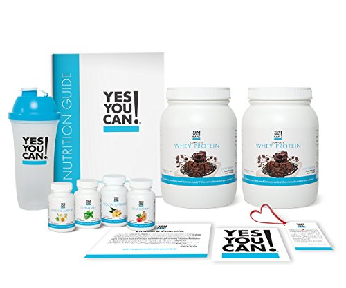 (Yes You Can! Transform Kit: Food Lover 60 Servings, Twice a Day, Contains: Two Complete Whey Protein Choco-Brownie, One Slim Down, One Appetite Support, One Collagen, One Colon Optimizer, One Shaker)