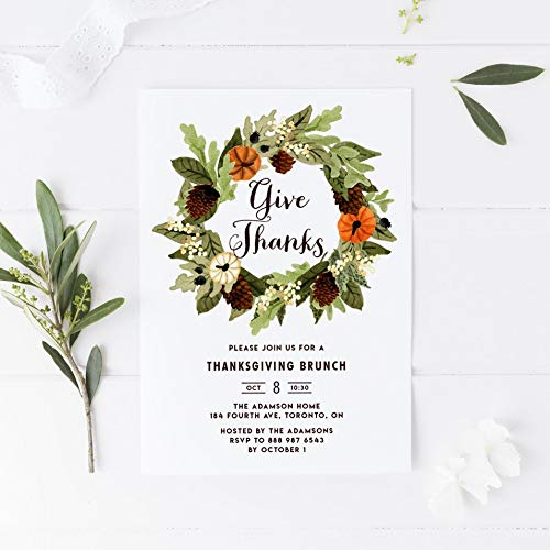 Dozili Thanksgiving Party Invitation Watercolor Pumpkins and Pinecones Wreath Thanksgiving Invitation]()