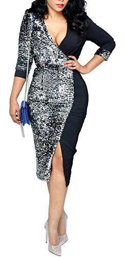 (Aleng Womens Sexy Sparkly Sequin V Neck 3/4 Sleeve Wrap Bodycon Dress Cocktail Midi Dresses Prom Gowns Black)