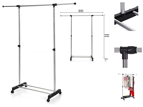 JTW-Single Adjustable Rolling Clothes Rack Hanging Portable Space saving & conveniently & Heavy Duty Hanger stainless steel and PP plastic Max.10kg Silver Black color